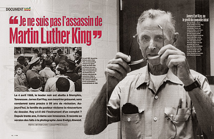 article du magazine VSD par Jane Evelyn Atwood sur James Earl Ray intitulé «je ne suis pas l'assassin de Martin Luther King»