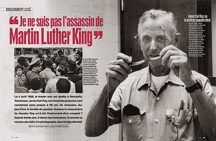 article du magazine VSD par Jane Evelyn Atwood sur James Earl Ray intitulé «je ne suis pas l'assassin de Martin Luther King»